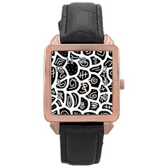Black and white playful design Rose Gold Leather Watch  by Valentinaart