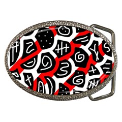 Red playful design Belt Buckles by Valentinaart