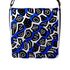 Blue Playful Design Flap Messenger Bag (l)  by Valentinaart