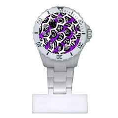 Purple Playful Design Plastic Nurses Watch by Valentinaart