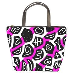 Magenta playful design Bucket Bags by Valentinaart