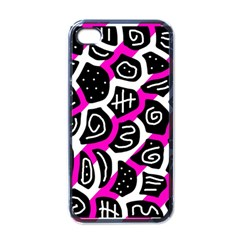 Magenta Playful Design Apple Iphone 4 Case (black) by Valentinaart