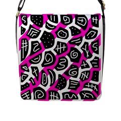 Magenta Playful Design Flap Messenger Bag (l)  by Valentinaart