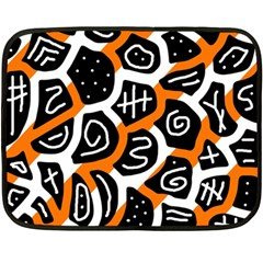 Orange Playful Design Double Sided Fleece Blanket (mini)  by Valentinaart