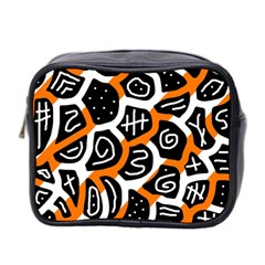 Orange Playful Design Mini Toiletries Bag 2 Side by Valentinaart