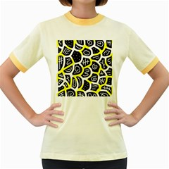 Yellow Playful Design Women s Fitted Ringer T Shirts by Valentinaart