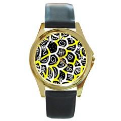 Yellow Playful Design Round Gold Metal Watch by Valentinaart