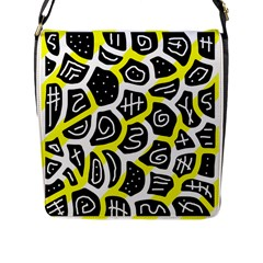 Yellow Playful Design Flap Messenger Bag (l)  by Valentinaart