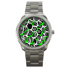 Green Playful Design Sport Metal Watch by Valentinaart