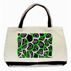 Green Playful Design Basic Tote Bag by Valentinaart