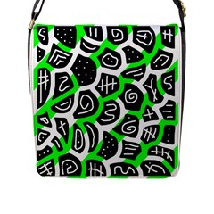 Green Playful Design Flap Messenger Bag (l)  by Valentinaart