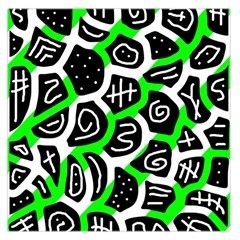 Green Playful Design Large Satin Scarf (square) by Valentinaart
