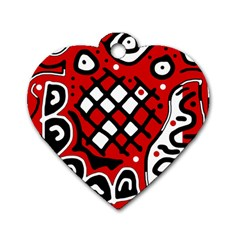 Red High Art Abstraction Dog Tag Heart (one Side) by Valentinaart