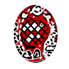 Red High Art Abstraction Ornament (oval Filigree)  by Valentinaart