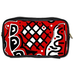 Red High Art Abstraction Toiletries Bags 2 Side by Valentinaart