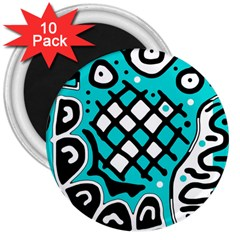 Cyan High Art Abstraction 3  Magnets (10 Pack)  by Valentinaart