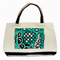 Cyan High Art Abstraction Basic Tote Bag by Valentinaart