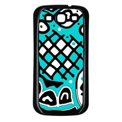 Cyan High Art Abstraction Samsung Galaxy S3 Back Case (black) by Valentinaart