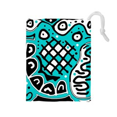 Cyan High Art Abstraction Drawstring Pouches (large)  by Valentinaart