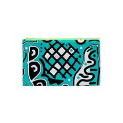 Cyan High Art Abstraction Cosmetic Bag (xs) by Valentinaart