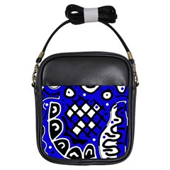 Blue High Art Abstraction Girls Sling Bags by Valentinaart