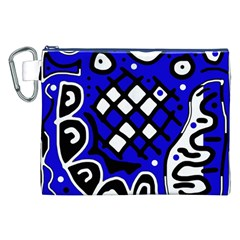 Blue High Art Abstraction Canvas Cosmetic Bag (xxl) by Valentinaart