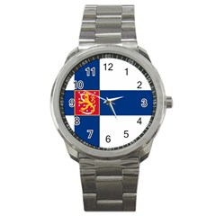 State Flag Of Finland  Sport Metal Watch by abbeyz71