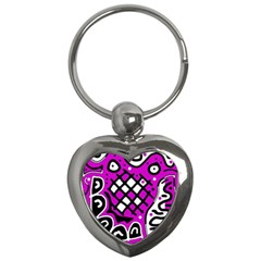 Magenta High Art Abstraction Key Chains (heart)  by Valentinaart