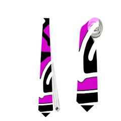Magenta high art abstraction Neckties (Two Side)  by Valentinaart
