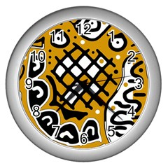 Yellow High Art Abstraction Wall Clocks (silver)  by Valentinaart