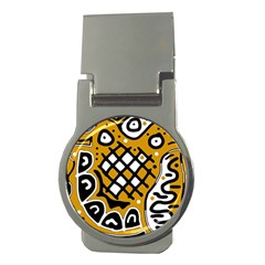 Yellow High Art Abstraction Money Clips (round)  by Valentinaart