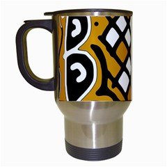 Yellow High Art Abstraction Travel Mugs (white) by Valentinaart