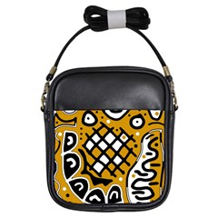 Yellow High Art Abstraction Girls Sling Bags by Valentinaart