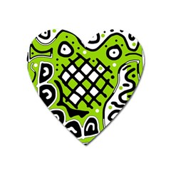 Green High Art Abstraction Heart Magnet by Valentinaart