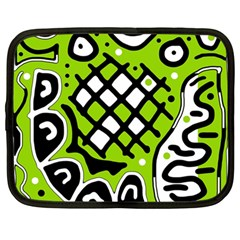 Green High Art Abstraction Netbook Case (large) by Valentinaart