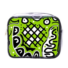 Green High Art Abstraction Mini Toiletries Bags by Valentinaart