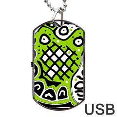 Green high art abstraction Dog Tag USB Flash (Two Sides)  by Valentinaart