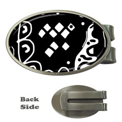 Black And White High Art Abstraction Money Clips (oval)  by Valentinaart