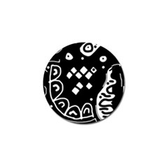 Black And White High Art Abstraction Golf Ball Marker by Valentinaart
