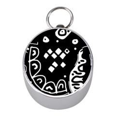 Black and white high art abstraction Mini Silver Compasses by Valentinaart