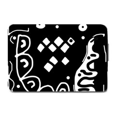 Black and white high art abstraction Plate Mats by Valentinaart
