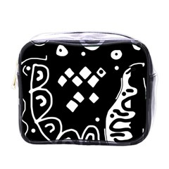Black And White High Art Abstraction Mini Toiletries Bags by Valentinaart