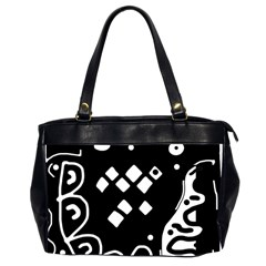 Black And White High Art Abstraction Office Handbags (2 Sides)  by Valentinaart