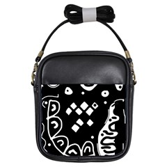Black And White High Art Abstraction Girls Sling Bags by Valentinaart