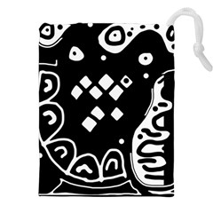 Black and white high art abstraction Drawstring Pouches (XXL) by Valentinaart
