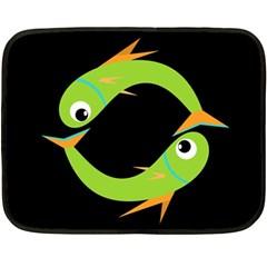 Green Fishes Fleece Blanket (mini) by Valentinaart