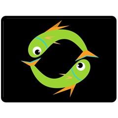 Green Fishes Fleece Blanket (large)  by Valentinaart