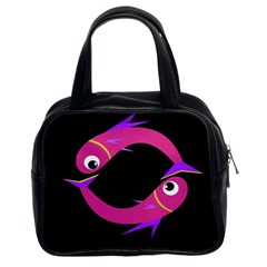 Magenta Fishes Classic Handbags (2 Sides) by Valentinaart