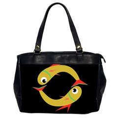 Yellow Fishes Office Handbags (2 Sides)  by Valentinaart