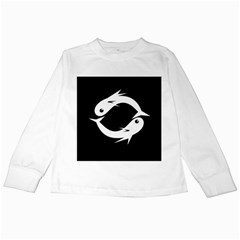 White fishes Kids Long Sleeve T-Shirts by Valentinaart